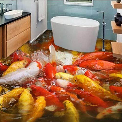 Hwhz Großer Kundenspezifischer Bodenbelag Haftet Dicken Wasserdichten Boden Des Roten Und Gelben Dreifarbigen Modischen Wohnzimmer-Schlafzimmers Koi 3D-400X280Cm -
