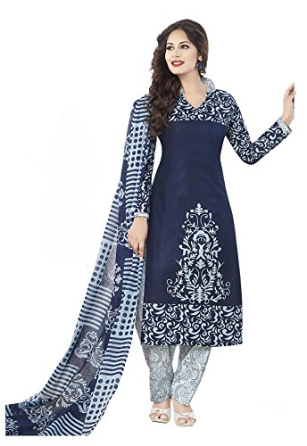 Ishin Women's Cotton Blue & White Bollywood Printed Unstitched Salwar Suit Dress Material (Anarkali/Patiyala) With Dupatta  available at amazon for Rs.399
