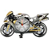 Bazaar Pirates Bike Table Clock, Table Alarm Clock, Table Decor Cum Clock, Table Watch Clock (Silver, Gold)