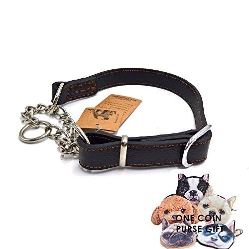 PetFun Halsband, einzigartiges Design, weich, robust, aus Leder und Edelstahl, verschiedene Größen (Gestickte Weiß Hinweis)