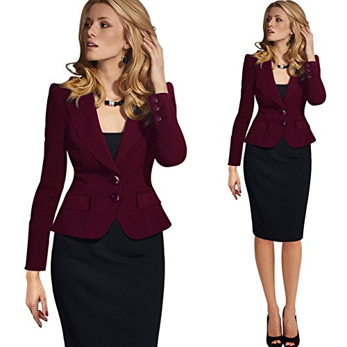 Value Buy Go Go Go Damen-Mode-lange Hülse dünne gepaßte Damen-Büro-Blazer-Klage-Jacke Rot