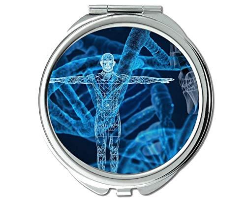 Yanteng Spiegel, Schminkspiegel, Anatomie Schädel Kopf Gehirn, Taschenspiegel, 1 X 32X Vergrößerung