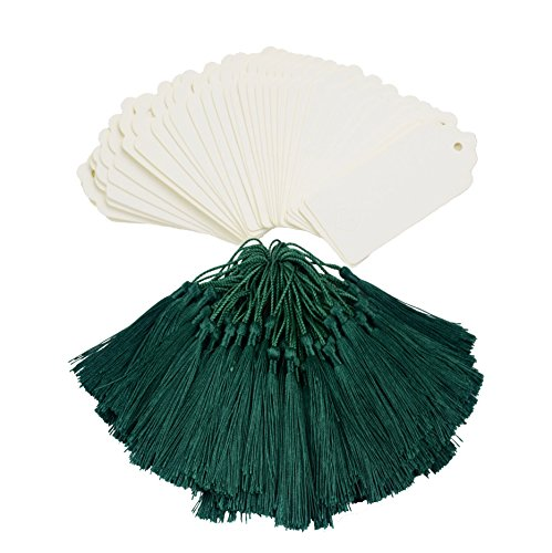 Makhry 100 Set di Tag Regalo Importati Vintage Carta Kraft Dura Segnalibri Carta Regalo Tag Bomboniera Bomboniera Bomboniere con Nappe di Seta Fatte a Mano (Bianca&Verde)