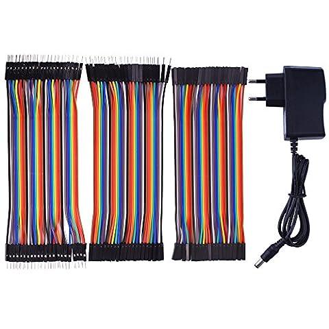 Pour Arduino starter kit Kuman Power Supply Wall adaptateur mural 9V AC to DC 1A + 120pcs multi-couleur Jumper Wires Ribbon câble 40pin male à femelle 40pin male à mâle 40pin femelle à femelle K72