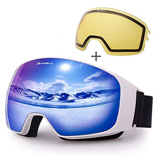 Avoalre Skibrille mit Anti-Fog UV-Schutz Ski Auswechselbare sphärische Doppellinse Snowboard Brille Schneebrille Verspiegelt für Outdoor Aktivitäten Skifahren Radfahren Wandern(Blau) (Snowboard Mit Bindungen Mädchen)