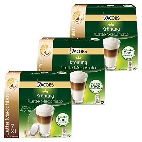 Jacobs Krönung Kaffeepads Latte Macchiato, 3er Pack, 3 x 7 Pads + Milchkompositionen