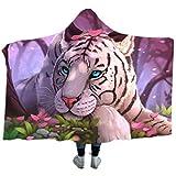 3D Tiger-Muster Decke mit Kapuze,Super Weiche Tagesdecken Wohndecke Kuscheldecke Schlafdecke Sofadecke für Kinder Kind Erwachsene Decken (Stil 1, 50'x60')