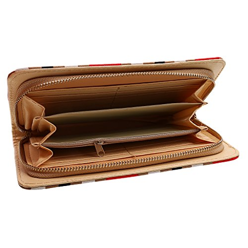 Phenovo Donna Moda Pochette Fermasoldi Portafogli Borsa In Pelle Con Slot Per Carta Titolare - Rosso Rosso