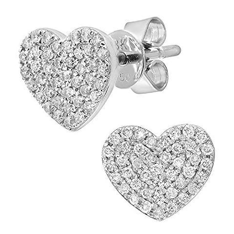 Naava Women's 0.25 ct Pave Set Diamond Heart 18 ct White Gold Stud Earrings