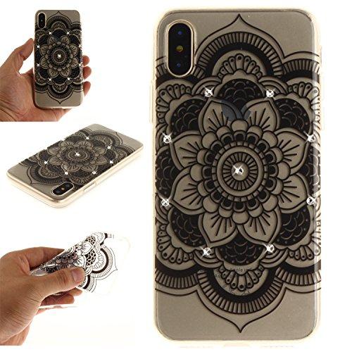Ooboom® Coque pour iPhone X Housse Transparent TPU Silicone Gel Étui Cover Case Souple Ultra Mince avec Bling Glitter - Pissenlit Tournesol Noir