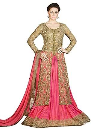 Salwar Style Women's Banglori Silk Embroidery Dress Material(Black-Beige)