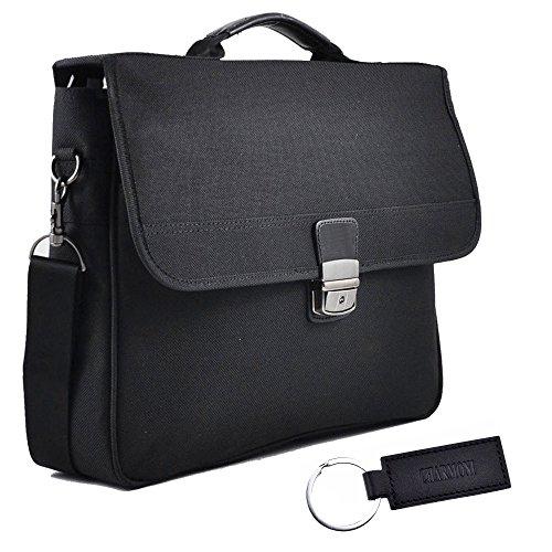 Charmoni in valigetta, con soffietto, 2-Cartella in Nylon con accessori, in pelle di vacchetta nuovo Fl1 Nero