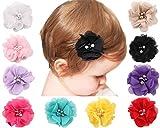 txian 10 Chiffon Haar Clip niedliches Blume Haarspange Strass Perle Haar-Accessoire für Mädchen Kid Baby