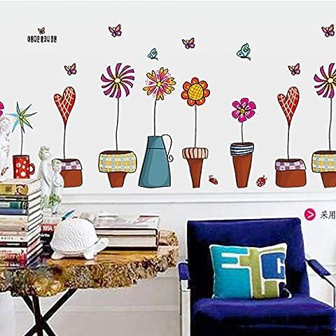 Flores frescas olla en la pared de la sala de estar antecedentes Wanddekoration, 45*60cm etiquetas