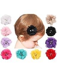 Txian 10pcs Mousseline de soie Pince à cheveux mignon Fleur Epingle Strass Perle accessoire pour cheveux pour filles Kid bébé