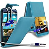 ( Baby Blue ) Samsung Galaxy S3 I9300 Premium Faux Kredit / Debit-Karten-Slot Leder Flip Case Hülle & LCD-Display Schutzfolie by Fone-Case