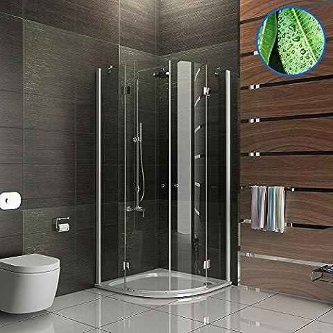 Design Rund Echtglas Dusche Duschkabine Duschabtrennung Wannenmaß 80x80x195 mit Antikalk / Easy Clean Glas