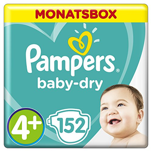 Pampers Baby-Dry Windeln, Gr. 4+, 10-15 kg, Monatsbox, 1er Pack (1 x 152 Stück)