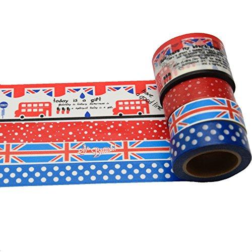 K-LIMIT 4er Set Washi Tape Dekoband Masking Tape Klebeband Scrapbooking England Union Jack 9750 (Klebeband London)