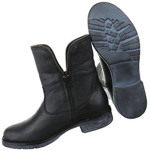 ba2a31dd51b4 Damen Stiefeletten Schuhe Stiefel Leder Boots Schwarz 36 37 38 39 40 41  Schwarz ...