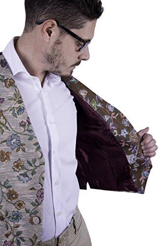 Old Fashion Sartoria, Firenze, Gilet, Panciotto, Uomo, Velluto, Cotone, Gobelin, Floreale Bordeaux, Verde, Beige, Petrolio, Arancione, Rosa, Multicolore