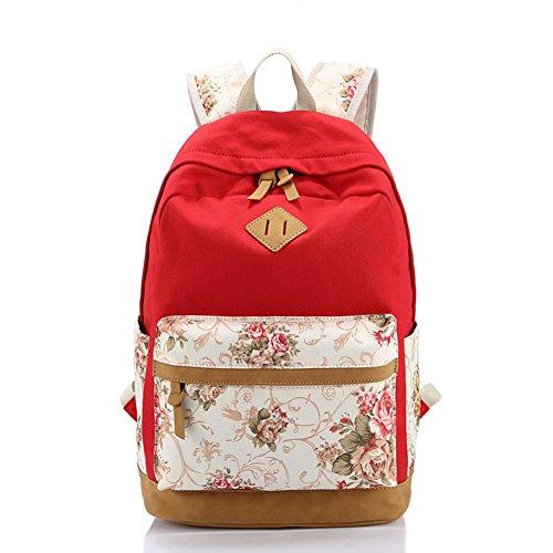 79418f718e Yimidear zaino donna in tela per scuola casuale con decorazione fiore  laptop entro 14 Rosso ...