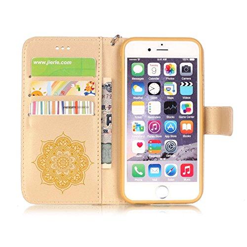 iPhone 6S Hülle, iPhone 6 Hülle, JIAXIUFEN Traumfänger Muster Ledertasche Schutzhülle Brieftasche Case Tasche mit Standfunktion und Karte Halter für iPhone 6 6s (Weiß/Pink Blume) Color04
