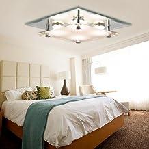 VINGO LED Deckenleuchte Modern 12w Kristall Deckenlampe Warmweiss Wohnzimmerlampe Badleuchte Innenlampe Wandleuchte Eckig Glas Garderobe