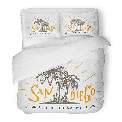 3 Stück Bettbezug-Set aus gebürstetem Mikrofasergewebe atmungsaktiv San Diego California Graphic Vintage T-Shirt Retro Urban Youth Palm Trees Original-Bettwäsche-Set mit 2 Kissenbezügen, King Size -