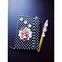 Hermosa Libreta, agenda, block, boligrafo decorado hecho a mano porcelana fria muñeca flores
