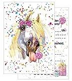15 Einladungskarten Kindergeburtstag: Pferd Geburtstagseinladungen Einladungen Geburtstag Kinder Mädchen (Mit passenden Umschlägen)