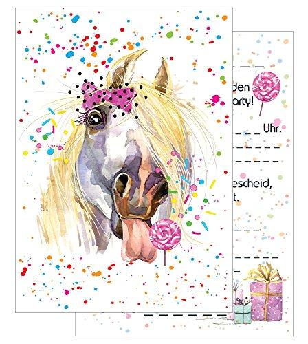 the lazy panda card company 15 Einladungskarten Kindergeburtstag: Pferd Geburtstagseinladungen Einladungen Geburtstag Kinder Mädchen (Mit Passenden Umschlägen)