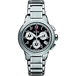 GROVANA 5094.9137 Unisex Quartz Swiss Watch with Black Dial Chronograph Display and Silver Stainless Steel Bracelet