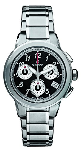 GROVANA 5094,9137 Swiss-Orologio Unisex al quarzo, quadrante Display con cronografo e cinturino in acciaio INOX color argento