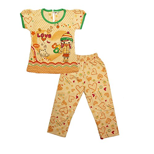 Kid's Care Printed Girls' Night Suit(Orange)