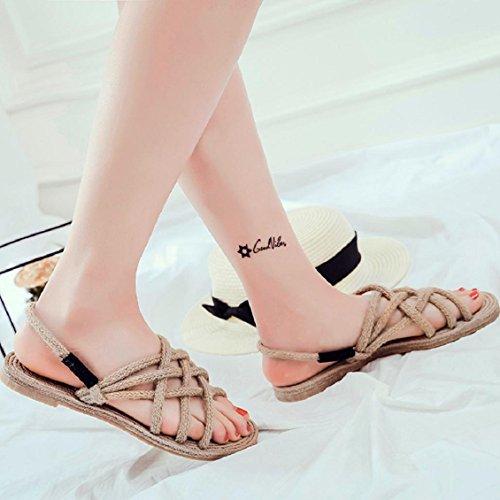 Transer® Damen Retro Flach Sandalen Atmungsaktiv Khaki Schwarz PVC+Stricken Gras Kreuzgürtel Hausschuhe Gr.35-40 Khaki