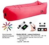 Napking + Light–Bright Light Outdoor Sofa Lounger Inflatable Sofa inflatable Light and Bottle Opener & Supplied with carrying bag, red