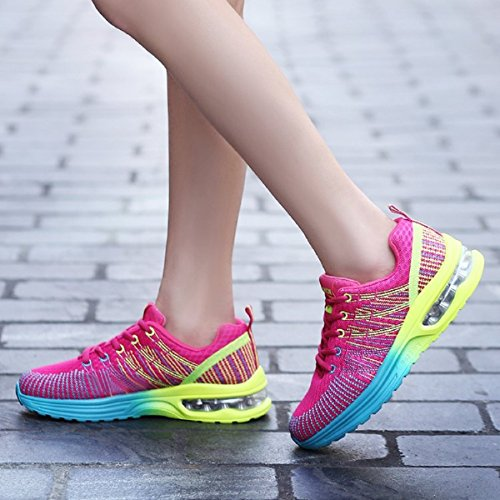 NEOKER Herren Damen Laufschuhe Sportschuhe Outdoor Running Freizeit Schuhe Turnschuhe Leicht Sneaker Schwarz Rot Grau 35-44 Rot