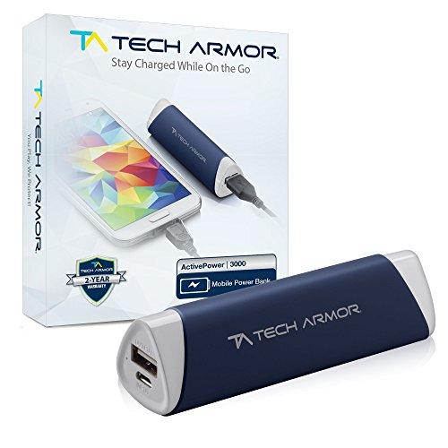 Tech Armor ActivePower   Batería externa portátil de 3.000 mAh   Doble puerto de USB   Carga rápida y gran capacidad