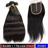 """My-Lady® Tissage Bresilien en Lot - Extensions Capillaires de Cheveux Humains Naturels Vierges Raide Noir Naturel - 3 Tissages + 1 Top Lace Closure (14""""16""""18""""+14""""lace closure)"""