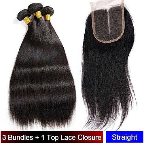 My-Lady® Tissage Bresilien en Lot - Extensions Capillaires de Cheveux Humains Naturels Vierges Raide Noir Naturel - 3 Tissages + 1 Top Lace Closure (10\