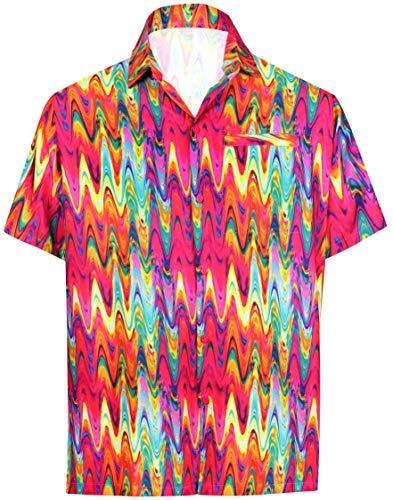 LA LEELA Herrenhemd abstrakt gedruckt Ausbreitung Kragen Mehr_A24 L - Brustumfang (in cms) : 111-121 -