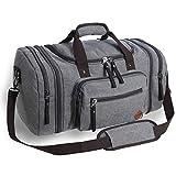 VENTCY Duffle Bag Damen Herren Canvas Reisetasche Weekender Gym Sporttasche Männer Frauen Vintage Handgepäck Tasche 40L für Urlaub Business Grau