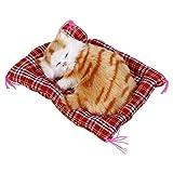 gattino di peluche super mini simpatico gatto giocattoli simulazione Sleeping Cats giocattoli di peluche con suono, Yellow