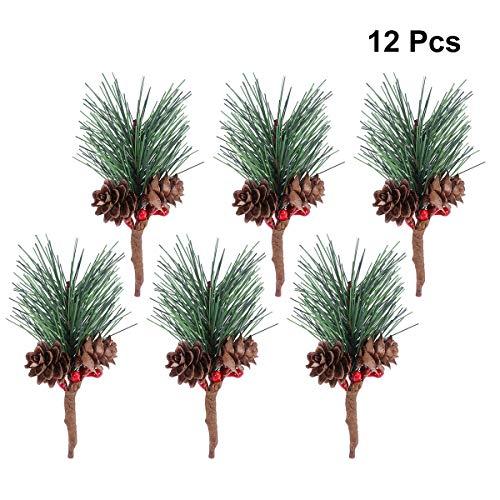 Healifty 12pcs artificiale pino piccola per composizioni floreali di natale ghirlande e decorazioni di vacanza