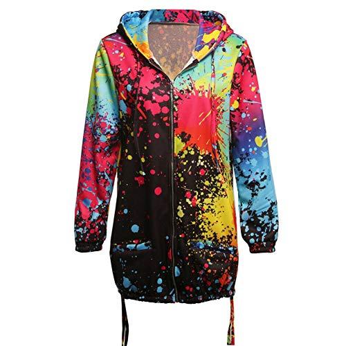 Modaily - Abrigo de Manga Larga para Mujer, diseño de arcoíris, Transpirable, para otoño, Negro, 4XL