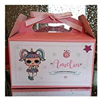 PERSONALISED UNICORN LOL DOLL CHRISTMAS EVE GIFT BOX - Handmade Pink Night before Xmas Present Box, Girls Sweets & Treat Box, Santa & Friends