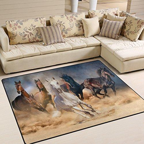 Naanle Pferde im Sand, Rutschfest, Teppich für Wohnzimmer, Schlafzimmer, Küche, 50x 80cm (2x 2,6m, mit Tier-/Teppich, Yoga-Matte, Multi, 150 x 200 cm(5' x 7') -