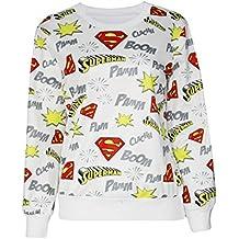 Nuevas señoras blanco Superman impresión Jersey sudadera Top Club wear ropa tamaño UK 10–12REINO UNIDO 38–40