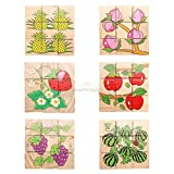 New Wooden Tangram 3D Jigsaw Puzzle Fruit Boards Educational Kids Baby Cube Toysfruits